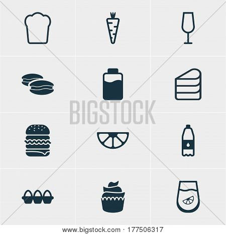 Vector Illustration Of 12 Cuisine Icons. Editable Pack Of Biscuit , Sandwich, Lime Elements.