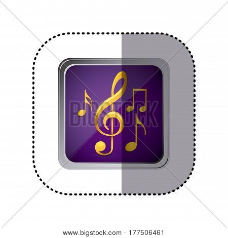 purple emblem musical notes, vector illustration design