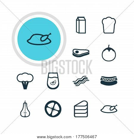 Vector Illustration Of 12 Food Icons. Editable Pack Of Cotton, Eggplant, Ham And Other Elements.