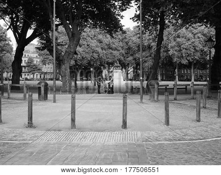 Queen Square In Bristol In Black And White