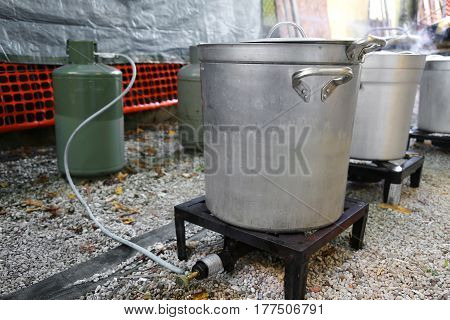 Makeshift Kitchen For The Preparation Of Food For Refugees