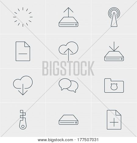 Vector Illustration Of 12 Network Icons. Editable Pack Of Removing File, Fastener, Document Adding And Other Elements.