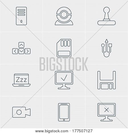 Vector Illustration Of 12 Computer Icons. Editable Pack Of Keypad, Movie Cam, Diskette And Other Elements.
