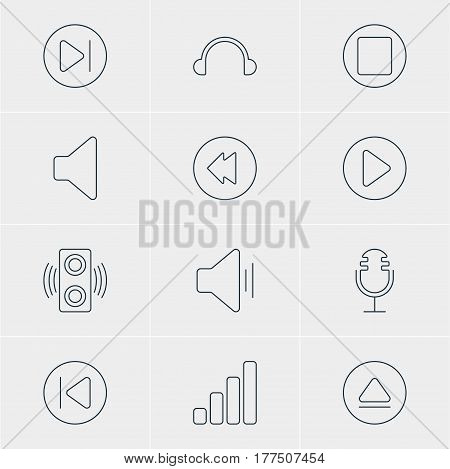 Vector Illustration Of 12 Melody Icons. Editable Pack Of Reversing, Subsequent, Speaker And Other Elements.