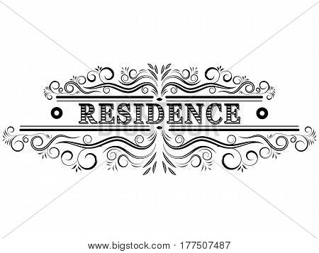 The vector residence logo with calligraphic elements