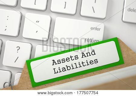 Assets And Liabilities. Green Card File Lays on Modern Metallic Keyboard. Archive Concept. Closeup View. Blurred Image. 3D Rendering.
