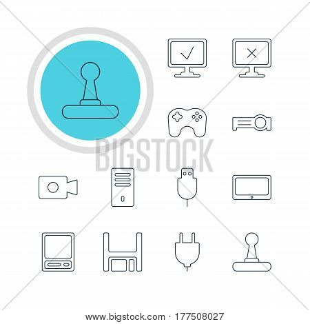 Vector Illustration Of 12 Computer Icons. Editable Pack Of Gamepad, Mainframe, Socket And Other Elements.