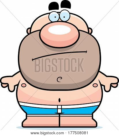 Cartoon Man In Swimsuit Bored