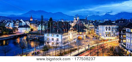 Old Town Of Lucerne, Switzerland, At Evening