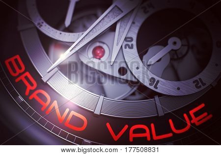 Brand Value on the Face of Luxury Pocket Watch Machinery Macro Detail Monochrome. Brand Value on the Face of Luxury Pocket Watch, Chronograph Close View. Time Concept with Lens Flare. 3D Rendering.