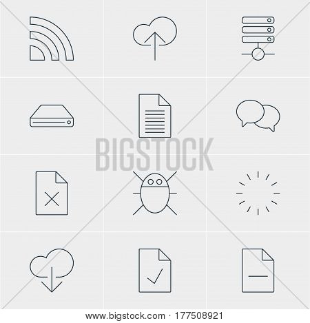 Vector Illustration Of 12 Network Icons. Editable Pack Of Waiting, Note, Checked Note And Other Elements.