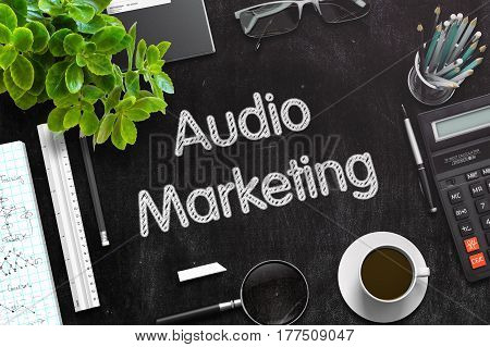 Audio Marketing Concept on Black Chalkboard. 3d Rendering. Toned Image.