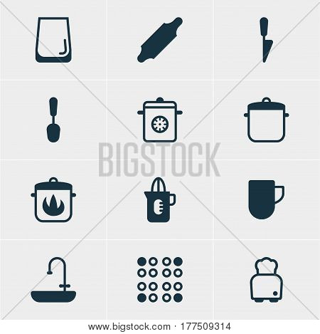 Vector Illustration Of 12 Kitchenware Icons. Editable Pack Of Washstand, Kitchen Dagger, Steamer Elements.