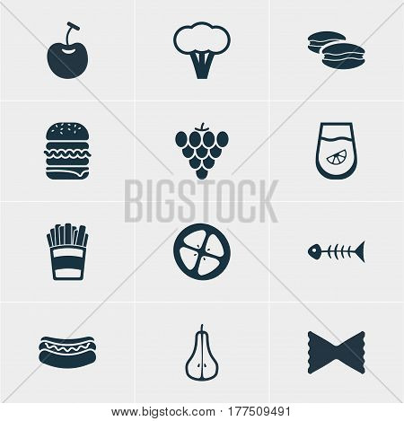 Vector Illustration Of 12 Dish Icons. Editable Pack Of Vineyard, Farfalle, Berry Type And Other Elements.