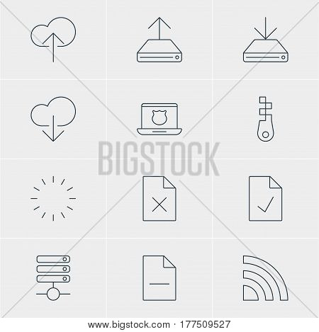 Vector Illustration Of 12 Network Icons. Editable Pack Of Data Upload, Cloud Download, Delete Data And Other Elements.