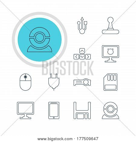 Vector Illustration Of 12 Computer Icons. Editable Pack Of Presentation, Cursor Manipulator, Antivirus And Other Elements.