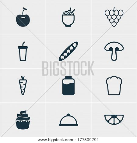 Vector Illustration Of 12 Cuisine Icons. Editable Pack Of Dessert, Soft Drink, Lime And Other Elements.