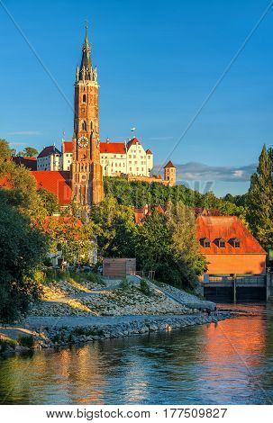 Medieval Old Town Of Landshut On Isar River, Germany