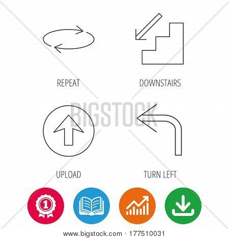 Arrows icons. Upload, repeat and shuffle linear signs. Turn left, downstairs arrow flat line icons. Award medal, growth chart and opened book web icons. Download arrow. Vector
