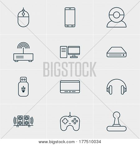 Vector Illustration Of 12 Technology Icons. Editable Pack Of PC, Joypad, Modem And Other Elements.