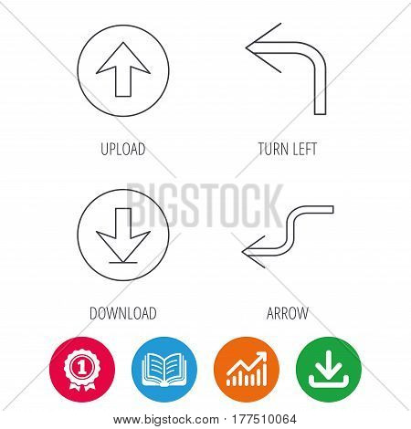 Arrows icons. Download, upload and shuffle linear signs. Turn left, back arrow flat line icons. Award medal, growth chart and opened book web icons. Download arrow. Vector