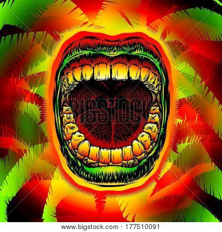 Open screaming mouth with teeth on psychedelic jungle leaves; Screaming shouting singing yawning mouth of woman or man; Jaw drop; Design from ink hand drawing style; Vector background Eps10