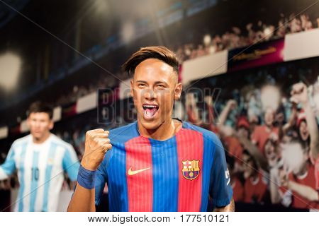 ISTANBUL, TURKEY - MARCH 16, 2017: Neymar Junior wax figure at Madame Tussauds wax museum in Istanbul. Neymar Junior is a Brazilian professional football player who plays for FC Barcelona.