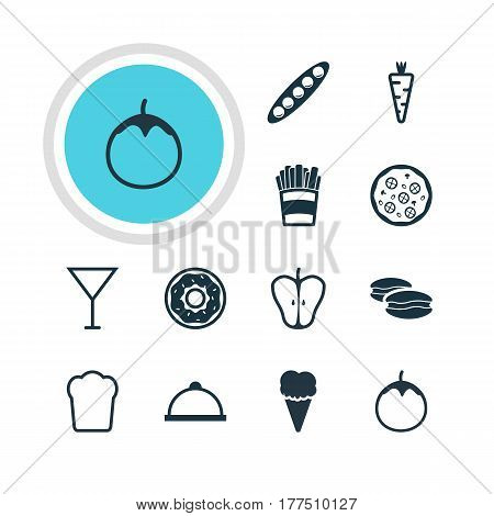 Vector Illustration Of 12 Food Icons. Editable Pack Of Veggie, Biscuit, Eggplant And Other Elements.