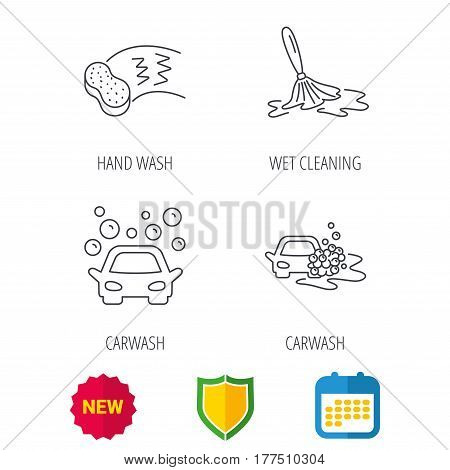 Car wash icons. Automatic cleaning station linear signs. Hand wash, sponge flat line icons. Shield protection, calendar and new tag web icons. Vector