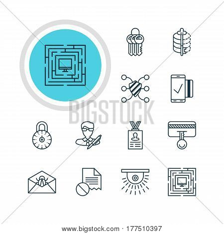 Vector Illustration Of 12 Internet Security Icons. Editable Pack Of Safeguard, Camera, Safe Lock And Other Elements.