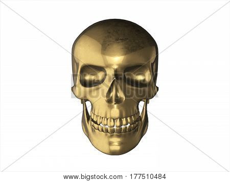 Golden Skull In Human Isolated On White Background