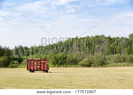 Red hay wagon full of freshly cut hay in a farm field. Copy space in sky if needed.