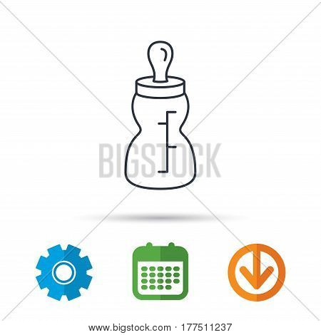 Baby feeding bottle icon. Drink glass with pacifier sign. Child food symbol. Calendar, cogwheel and download arrow signs. Colored flat web icons. Vector