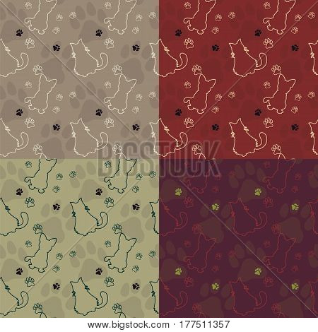 Set of Animal seamless vector patterns of cat and dog silhouettes. Endless texture can be used for printing onto fabric, web page background and paper or invitation.