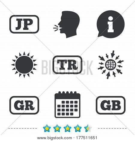 Language icons. JP, TR, GR and GB translation symbols. Japan, Turkey, Greece and England languages. Information, go to web and calendar icons. Sun and loud speak symbol. Vector