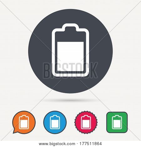 Battery power icon. Charging accumulator symbol. Circle, speech bubble and star buttons. Flat web icons. Vector