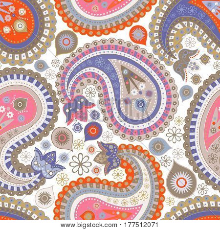 Colorful decorative pattern. Ethnic abstract background. Paisley ornament