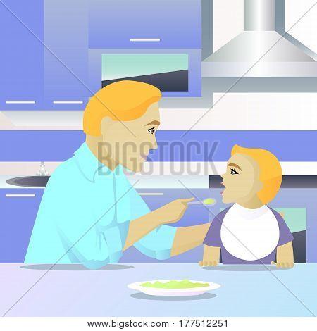 father feeding child in kitchen vector illustration