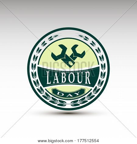 The vector emblem for labour day.Vintage design