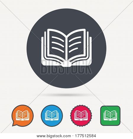 Book icon. Study literature sign. Education textbook symbol. Circle, speech bubble and star buttons. Flat web icons. Vector