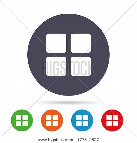 Thumbnails sign icon. Gallery view option symbol. Round colourful buttons with flat icons. Vector