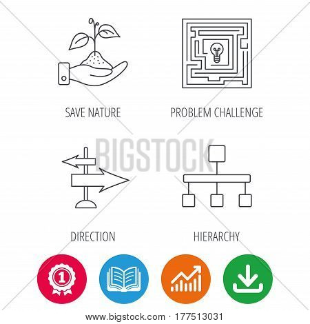 Hierarchy, save nature and direction arrow icons. Maze linear sign. Award medal, growth chart and opened book web icons. Download arrow. Vector