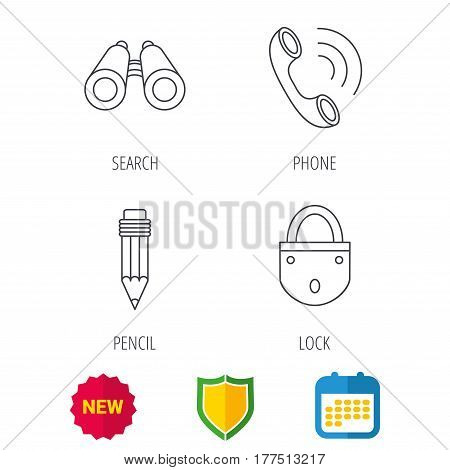 Phone call, pencil and search icons. Lock linear sign. Shield protection, calendar and new tag web icons. Vector