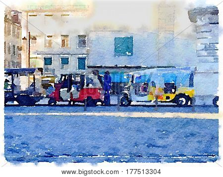Digital watercolor painting of rickshaws in Lisbon Portugal queueing up at a taxi rank waiting for passengers. With space for text.