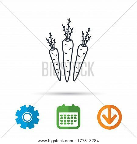 Carrots icon. Vegetarian food sign. Natural vegetables symbol. Calendar, cogwheel and download arrow signs. Colored flat web icons. Vector