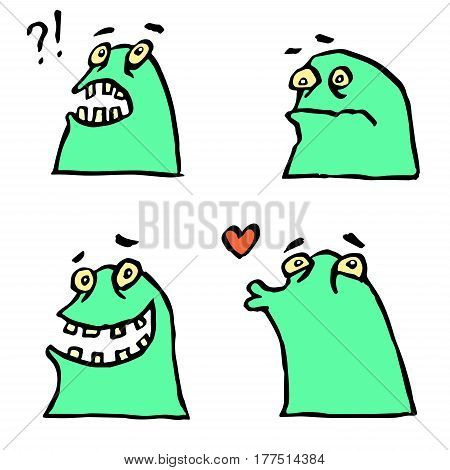 Green Monster Emoticons Set.Cheerful Collection Creature for Web Icons and Shirts.Pictures for Kids. Funny Cartoon Cool Character.Isolated Vector Illustration.
