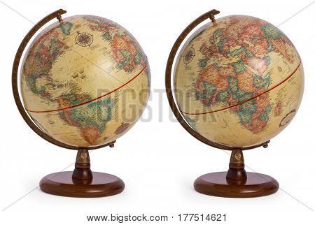 vintage / antique / retro terrestrial globe showing both sides of the world - America and Europe as well as the African continent, isolated on a white background