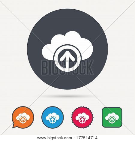 Upload from cloud icon. Data storage technology symbol. Circle, speech bubble and star buttons. Flat web icons. Vector