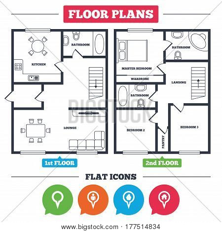 Architecture plan with furniture. House floor plan. Map circle pointer icons. Home, food and user location symbols. Restaurant and cupcake signs. You are here. Kitchen, lounge and bathroom. Vector