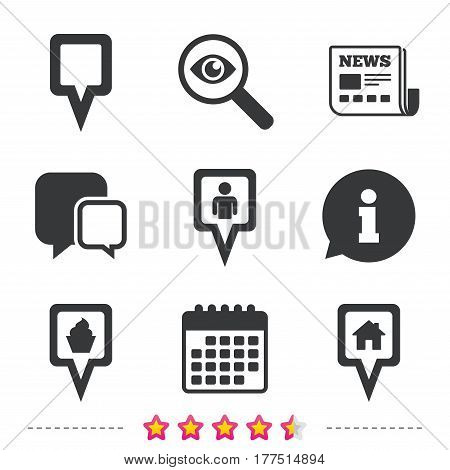 Map square pointer icons. Home, food and user location symbols. Restaurant and cupcake signs. You are here. Newspaper, information and calendar icons. Investigate magnifier, chat symbol. Vector